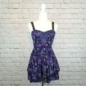Free People purple beaded floral print mini dress